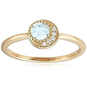 [VAヴァンドーム青山] VA VENDOME AOYAMA K10 イエローゴールド ダイヤモンド 0.02ct アクアマリン クレッセント 月 リング