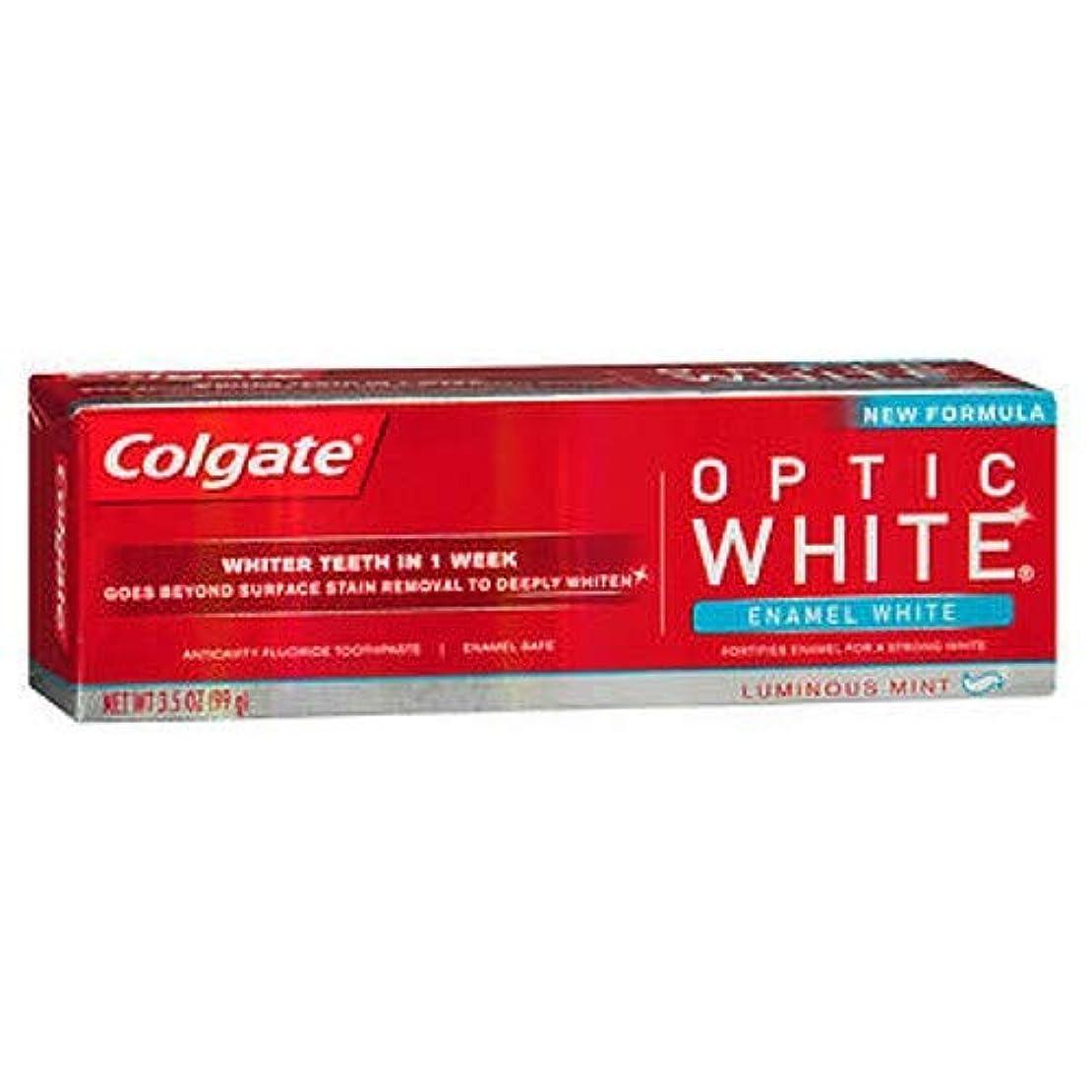 シャワーリーチ微弱Colgate オプティックホワイト虫歯予防フッ素の歯磨き粉、エナメルホワイト、ルミナスミント3.5オンス(3パック) 3パック