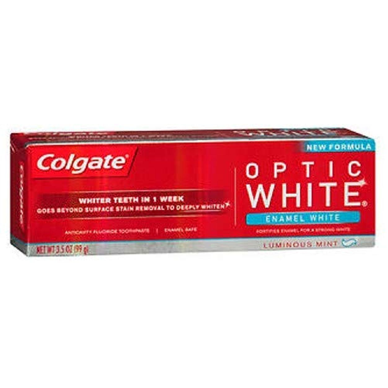 歩道主流物理学者Colgate オプティックホワイト虫歯予防フッ素の歯磨き粉、エナメルホワイト、ルミナスミント3.5オンス(3パック) 3パック
