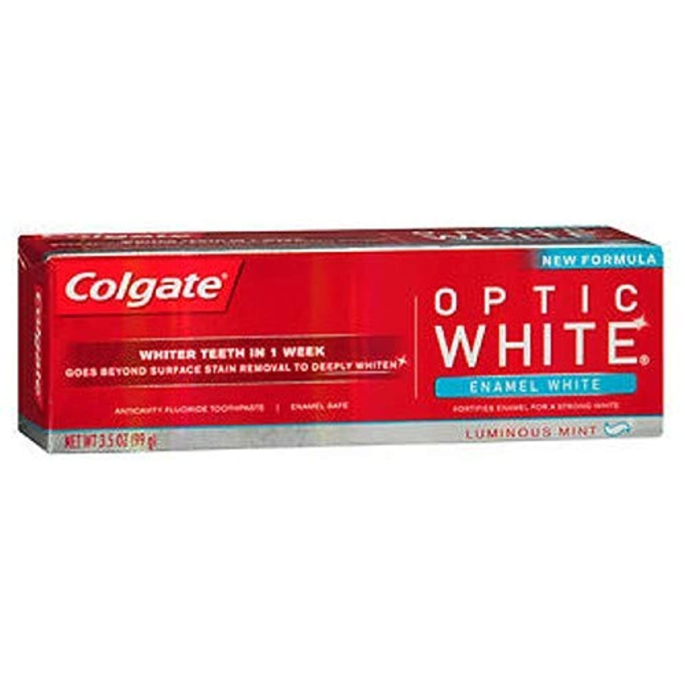 ロケット乳剤死にかけているColgate オプティックホワイト虫歯予防フッ素の歯磨き粉、エナメルホワイト、ルミナスミント3.5オンス(3パック) 3パック