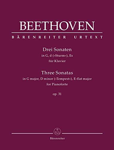 ベートーヴェン: 3つのピアノ・ソナタ:  第16番 ト長調 Op.31/1、第17番 ニ短調 Op.31/2 「テンペスト」、 第18番 変ホ長調 Op.31/3/原典版/デル・マー編/ベーレンライター社/ピアノ・ソロ