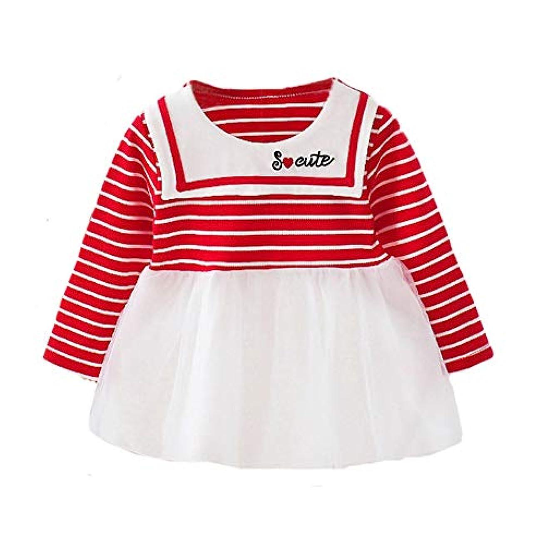 専門化するアシスタントパラシュートANKECHANG ベビー ワンピース 女の子 子供ドレス ストライプ 海軍 刺繍のセーラー服 長袖 可愛い プリンセス パーティー