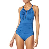 Kenneth Cole New York Womens KC6K911 High Neck Rouched Front Keyhole One Piece Swimsuit One Piece Swimsuit
