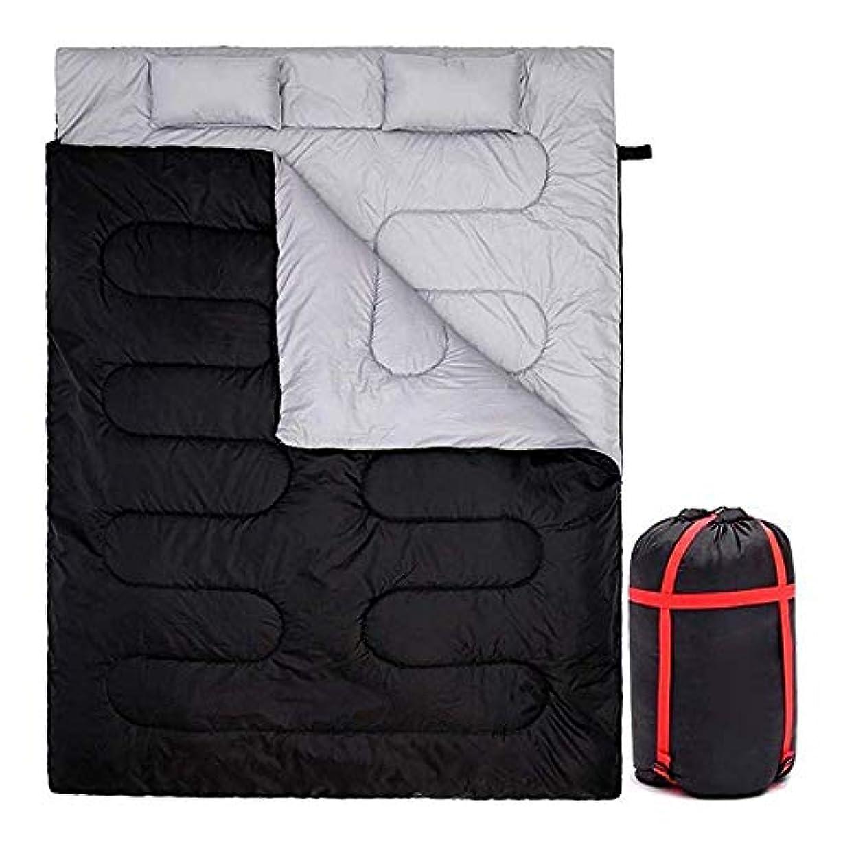 タンク推論特権的カップルダブル寝袋大防水暖かいキャンプ寝袋超軽量ポータブル長方形寝袋ハイキング黒