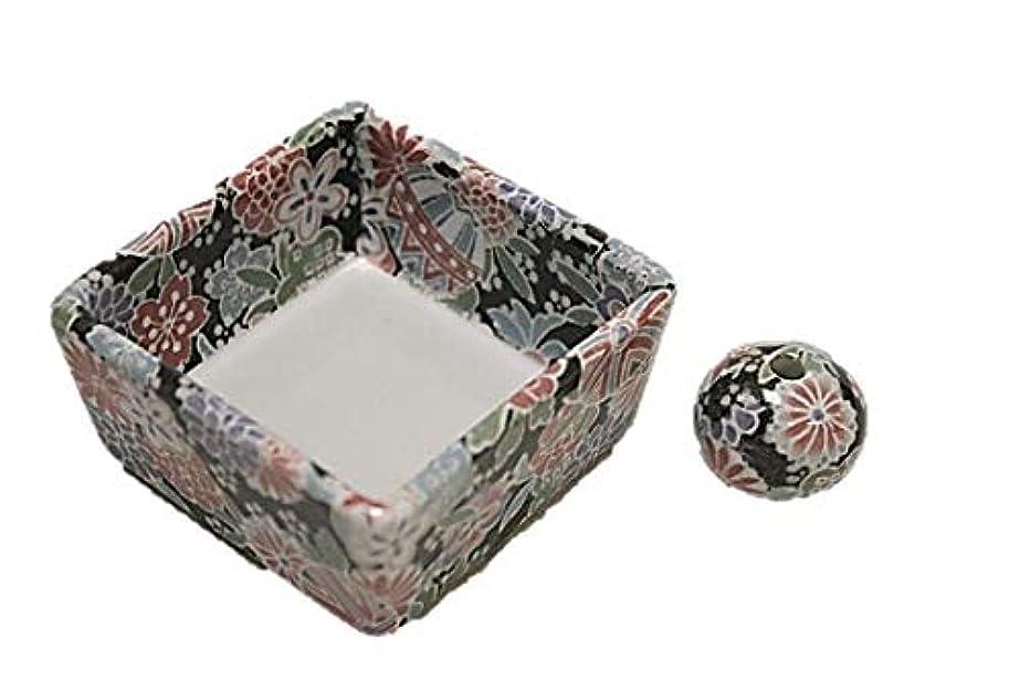 繕う平和的ステープル■製造直売 陶器 角鉢 和モダン 京雅黒 お香立て ACSWEBSHOPオリジナル
