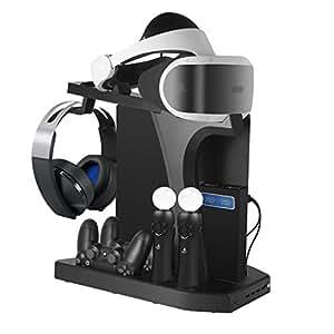 PSVR 充電スタンド PS4/PS4 PRO/SLIM コントローラー2台充電 充電ホルダー 日本語取扱説明書付き[初期VR対応]