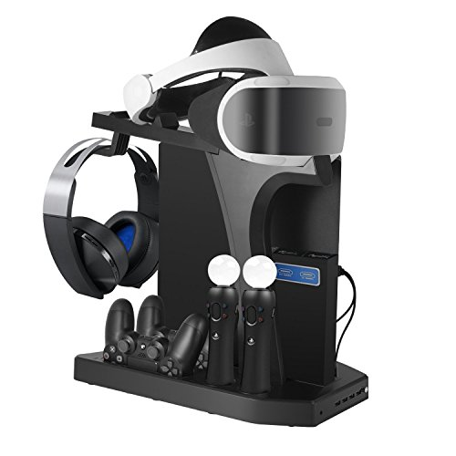 PSVR 充電スタンド PS4/PS4 PRO/SLIM コントローラー2台充電 充電ホルダー 日本語取扱説明書付き[改良版]