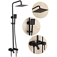 バスルームヨーロッパスタイルの真鍮シャワー蛇口ハンドシャワー - ステンレス鋼の雨シャワー - 調整可能な壁掛けダブル機能、