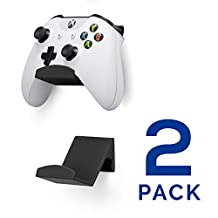Game Controller Wall Mount Stand Holder (2 Pack) for XBOX ONE SWITCH PS4 STEAM PC NINTENDO, Universal Gamepad Accessories - No screws, Stick on, Black By Brainwavz (V2 - Improved Adhesion)