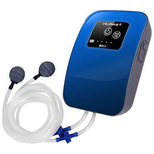 リチウム電池 エアーポンプ 停電したら内蔵電池に切り替え 水槽 魚の移送 釣り用 タイマ間隔作業モード 2600mAh大容量バッテリー 消音30db (青)