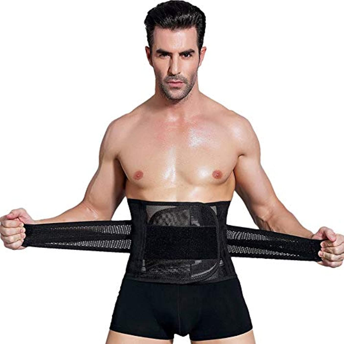 アンプ存在する控えめな男性ボディシェイパーコルセット腹部おなかコントロールウエストトレーナーニッパー脂肪燃焼ガードル痩身腹ベルト用男性 - ブラックXXL