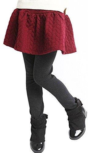 YRINA キッズ スカート付レギンス スカッツ 裏起毛 厚地 女の子 レギンス スカート パンツ スパッツ 100~150cm (110, レッド)