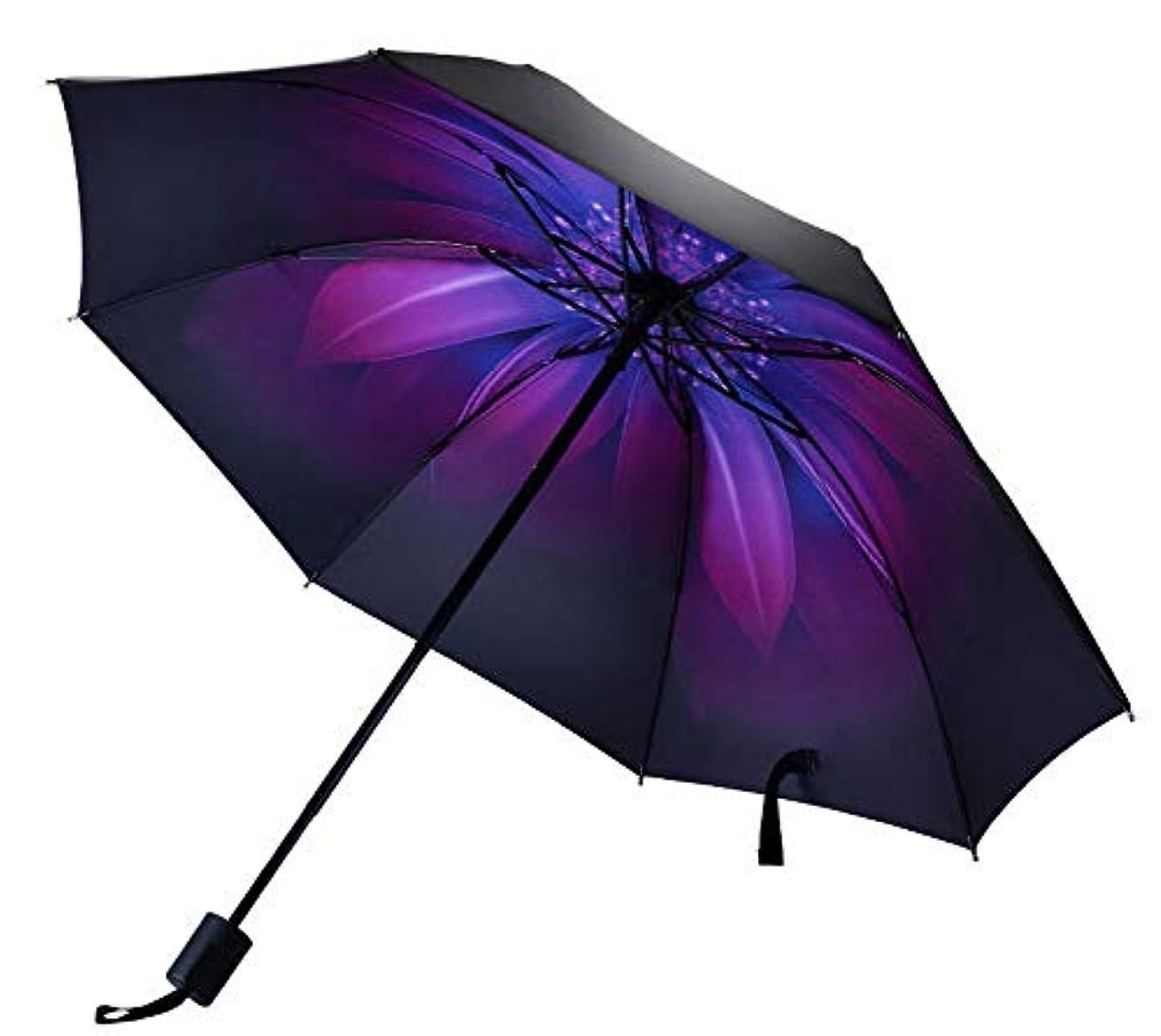 ロッジブリッジ灰ポータブル折り畳み傘サンプロテクション傘、パープルフラワー