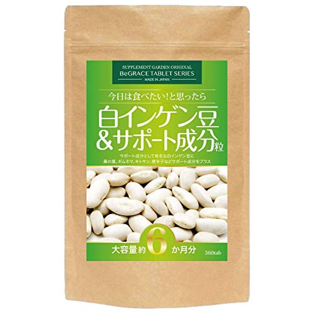 地球寛大な数白インゲン豆&サポート成分粒 大容量約6ヶ月分/360粒(白インゲン豆?桑の葉?ギムネマ?キトサン?唐辛子)