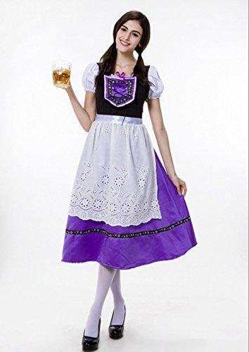 オクトーバーフェスト 民族衣装 ディアンドル セクシー メイド服ハロウィン コスプレ 女王 衣装 Mサイズ (パープル)