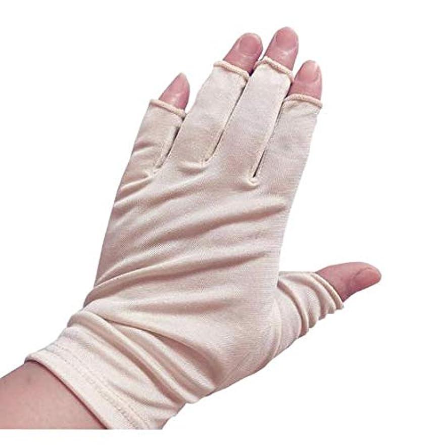 賃金ブリード意図的[スリーピングシープ] ひんやり サラサラ シルク100% UV 手袋 ハンドケア UV 手袋 手のお手入れに (M, 指切りベージュ)