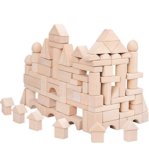 積み木 100点セット 木製ブロック 知育玩具 3歳から 天然木材使用 想像力を育つ お誕生日 入園祝い クリスマス プレゼント
