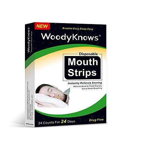WoodyKnows 24枚入り 口呼吸防止テープ イビキ軽減・防止用 睡眠時の呼吸改善 口閉じテープ いびき軽減グッズ 飛行機/普段使い/旅行/出張に最適