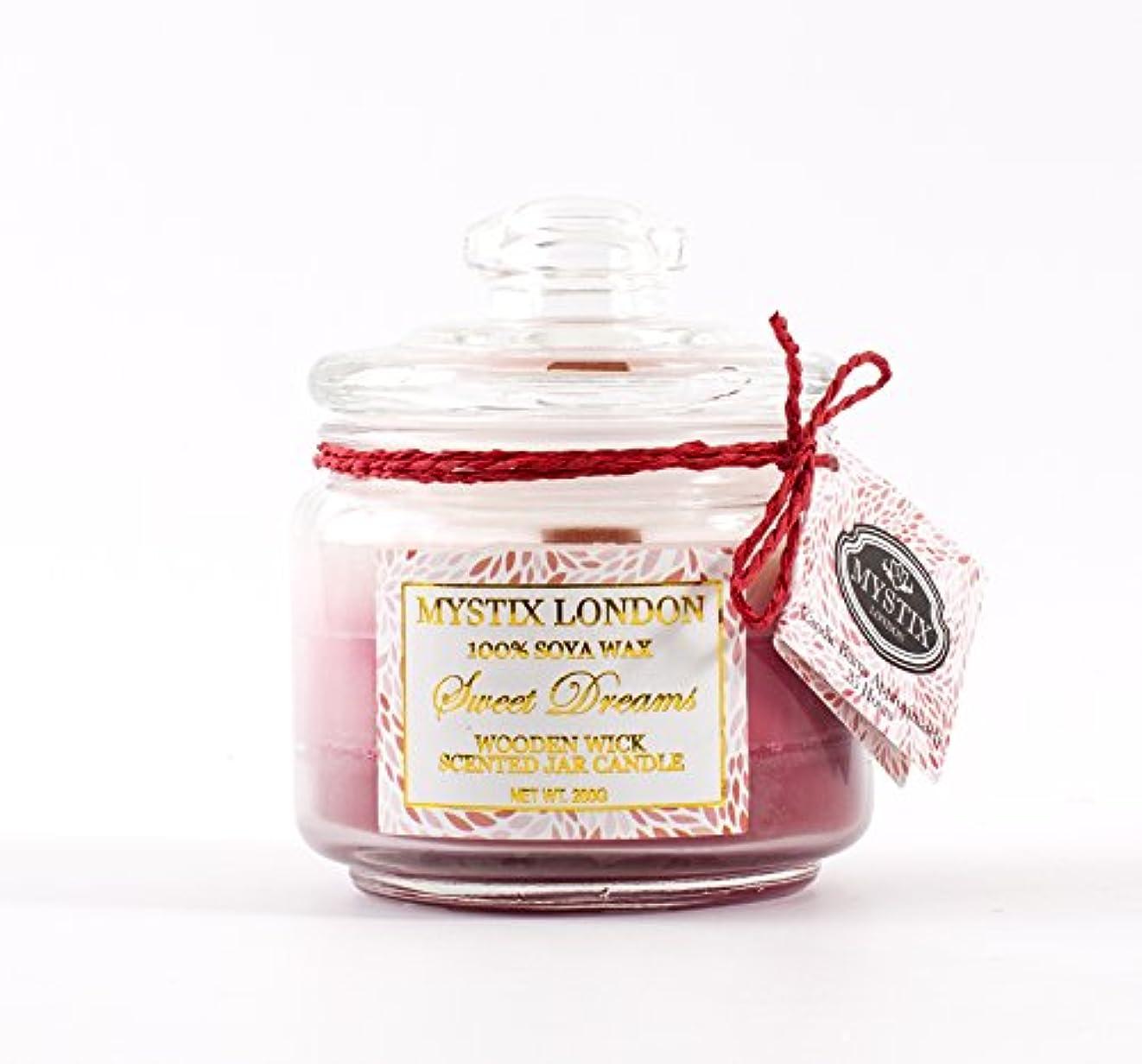 苗調和遅らせるMystix London | Sweet Dreams Wooden Wick Scented Jar Candle 200g