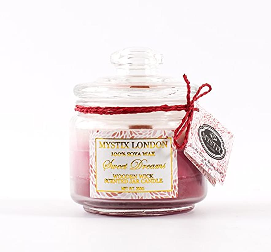 安全でないロッジ構造的Mystix London | Sweet Dreams Wooden Wick Scented Jar Candle 200g