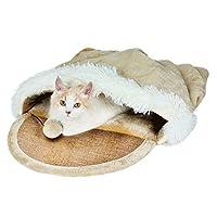 Pet Bed ふわふわした布のリネンは寝ることができます、ペットの寝具の巣を持つ二重使用の猫を爪で結ぶことができます A+ (色 : Brown, サイズ さいず : 53X38X20cm)