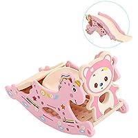 Feemom(フィーマム) 子供用ロッキングホース 多機能 ロッキングチェア 滑り台 輪投げ バスケットネット おもちゃ 1~3歳頃対象 (ピンク)