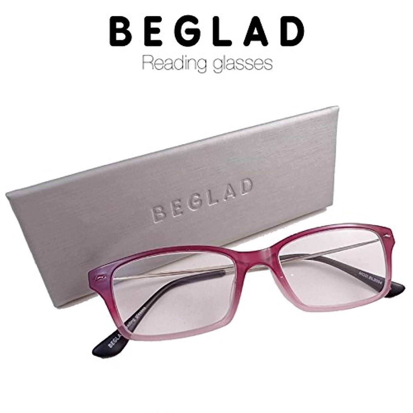 ビグラッド(BEGLAD) 老眼鏡 レッド 度数:+2.50 【グラデーションカラーがオシャレ!ケース付で便利】 BL3004RD