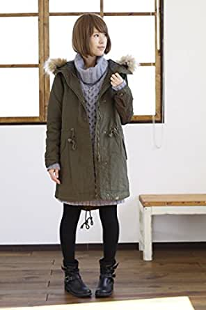 モッズコート レディース ファー付き 冬 ミリタリー アウター Mサイズ カーキ(57)