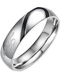 Flongo ステンレス指輪 ペア メンズリング Love&ハート モチーフ 刻印入 シンプル プレゼント 記念日 ブラック シルバー(銀) (ステンレス「メンズ」, 20)