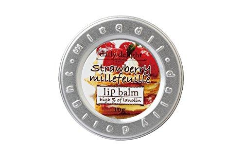 デイリーディライト リップバーム ストロベリーミルフィーユ 10g(リップクリーム 缶入り 唇用保湿クリーム いちごとパイのあまずっぱい香り)