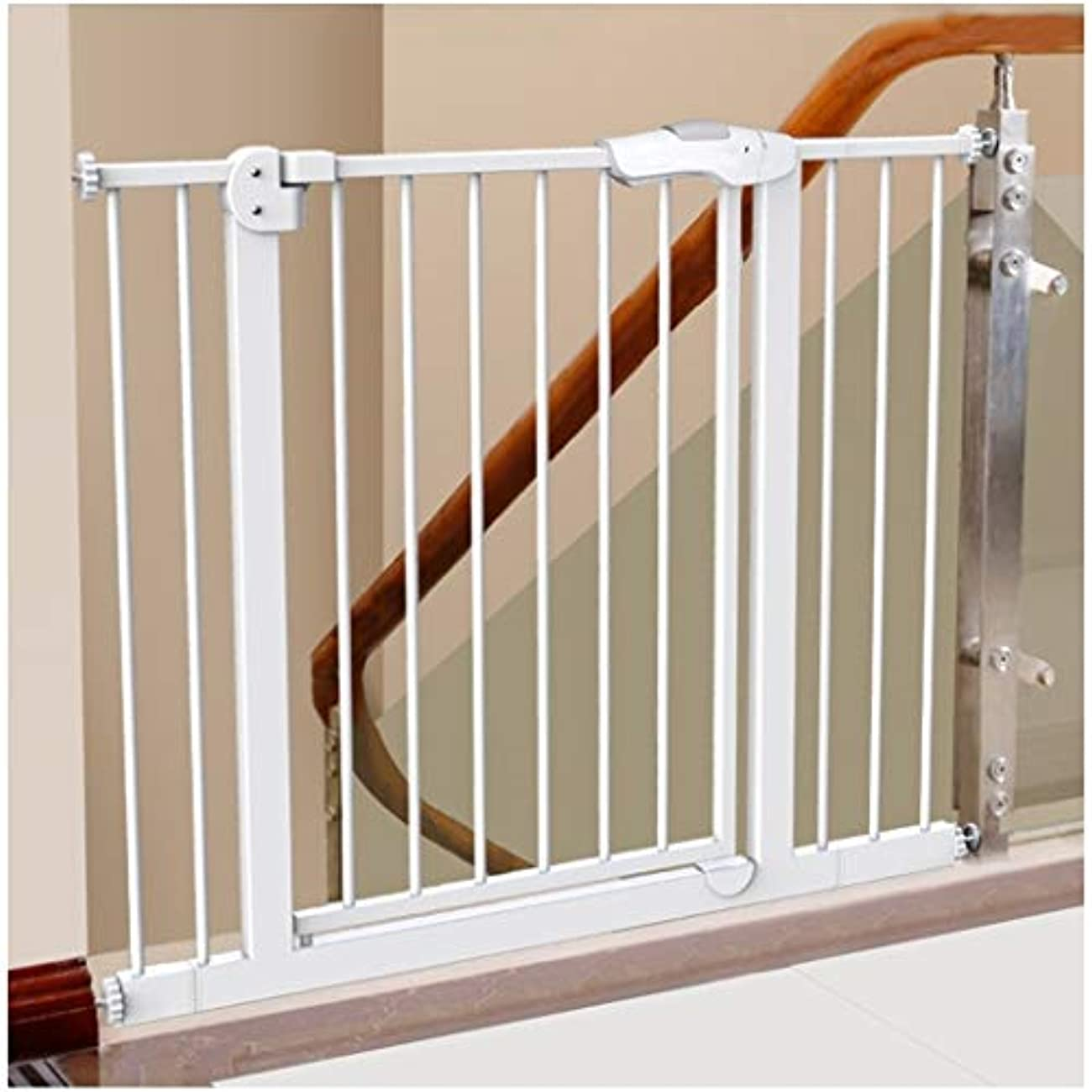トンネル褐色無一文フェンス 拡張赤ちゃんの安全ゲイツ自動閉会階段装飾ペットフェンスアイルレールガード金属は、ガードレールをインストールする簡単なフェンスを再生します As-01 (Color : High78cm width, Size : 255-264cm)