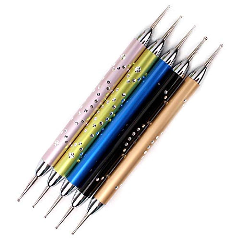 責酸化する忌避剤RETYLY 5個/セットダブルスパイラルドットペンネイルアートマーブル化ドットマニキュアツールポイントドリルペンネイルドットツール、 ネイルアート用
