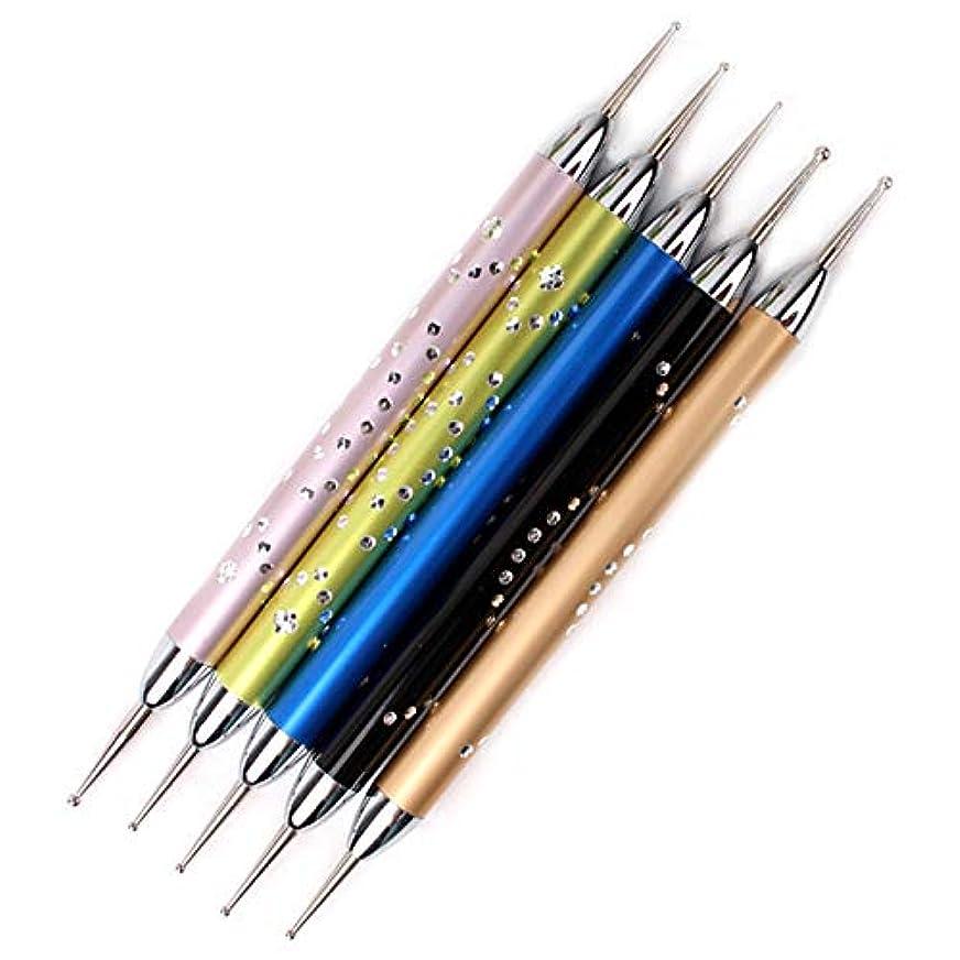 ブルゴーニュしてはいけないオーバーフローNrpfell 5個/セットダブルスパイラルドットペンネイルアートマーブル化ドットマニキュアツールポイントドリルペンネイルドットツール、 ネイルアート用