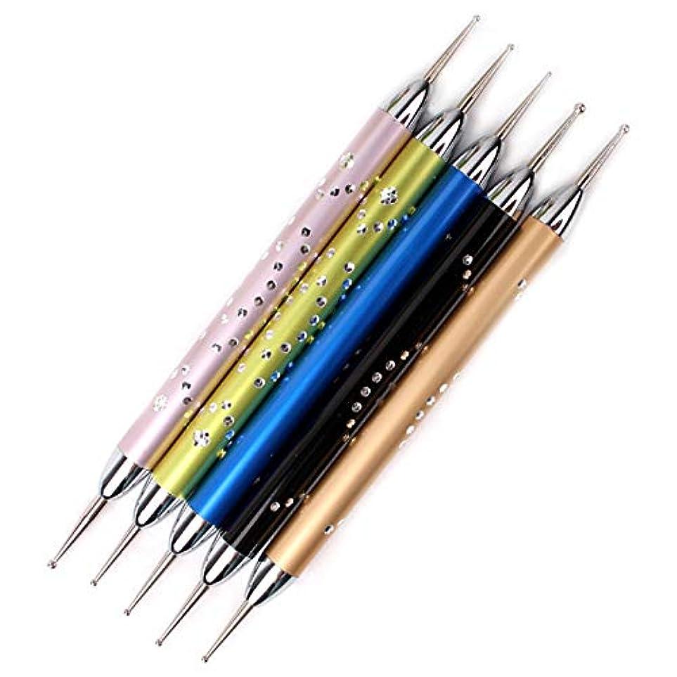 私発音する汚染Nrpfell 5個/セットダブルスパイラルドットペンネイルアートマーブル化ドットマニキュアツールポイントドリルペンネイルドットツール、 ネイルアート用