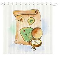 シャワーカーテン 古い地図 コンパス 風呂カーテン 洗面所 間仕切り 防水 防カビ加工 きれい 目隠し用 取付簡単 リング付属 150×180 cm