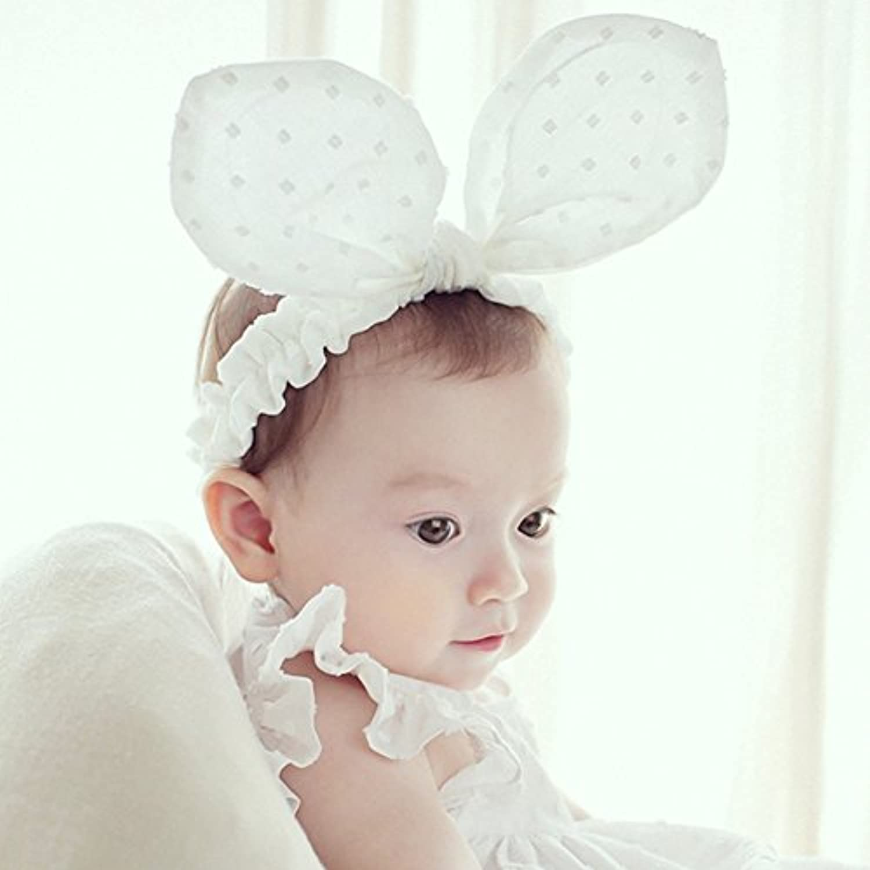 DreamYo ベビー ヘアアクセサリー ヘアバンド 赤ちゃん 新生児 髪飾り カチューム ヘッドアクセサリー ヘッドバンド 誕生日 結婚式 お宮参り (ホワイト,ウサギ耳)