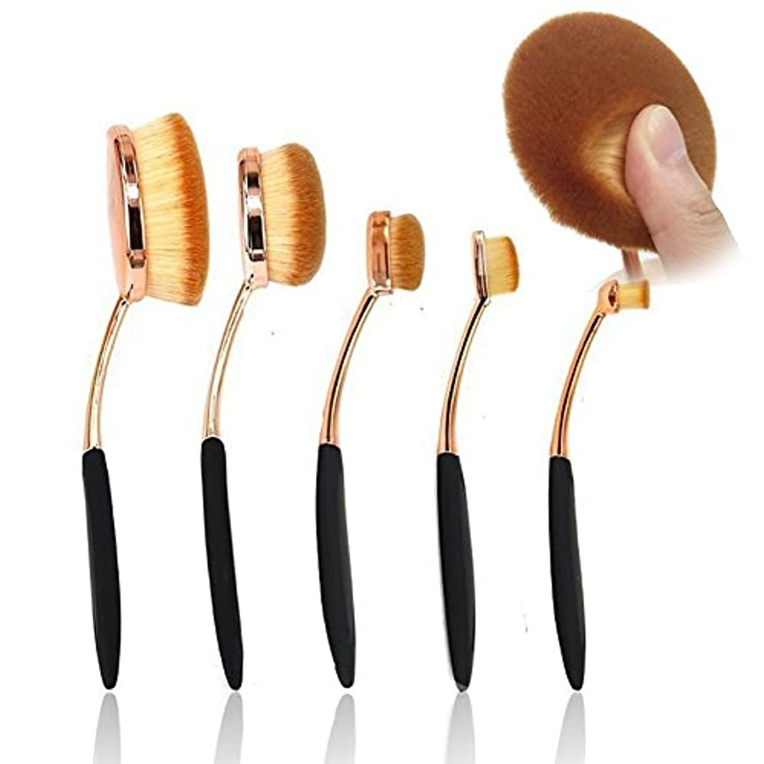 排泄物先ゴシップUniSign メイクブラシ クリーナー 化粧ブラシ 天然毛 フェイスブラシ携帯用 化粧ブラシ 歯磨き型 5本セット プレゼント