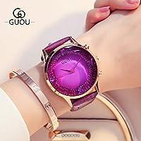 HWCOO 美しい時計 ベルトクォーツ時計日本運動ファッションさんダイヤモンドスターの大きなダイヤルウォッチフェイス (Color : 2)