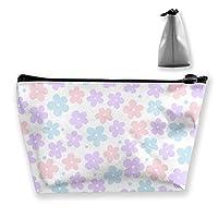 花のピンクの女性のメイクアップバッグ多機能トイレタリーオーガナイザーバッグ、ジッパー付きハンドポータブルポーチトラベルウォッシュストレージ容量(台形)