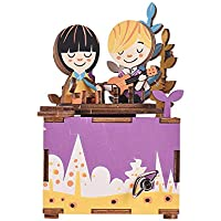 Muslady 木製ハンドクランク オルゴールDIYセット 漫画の図のデザイン クリスマス誕生日プレゼントミュージカル