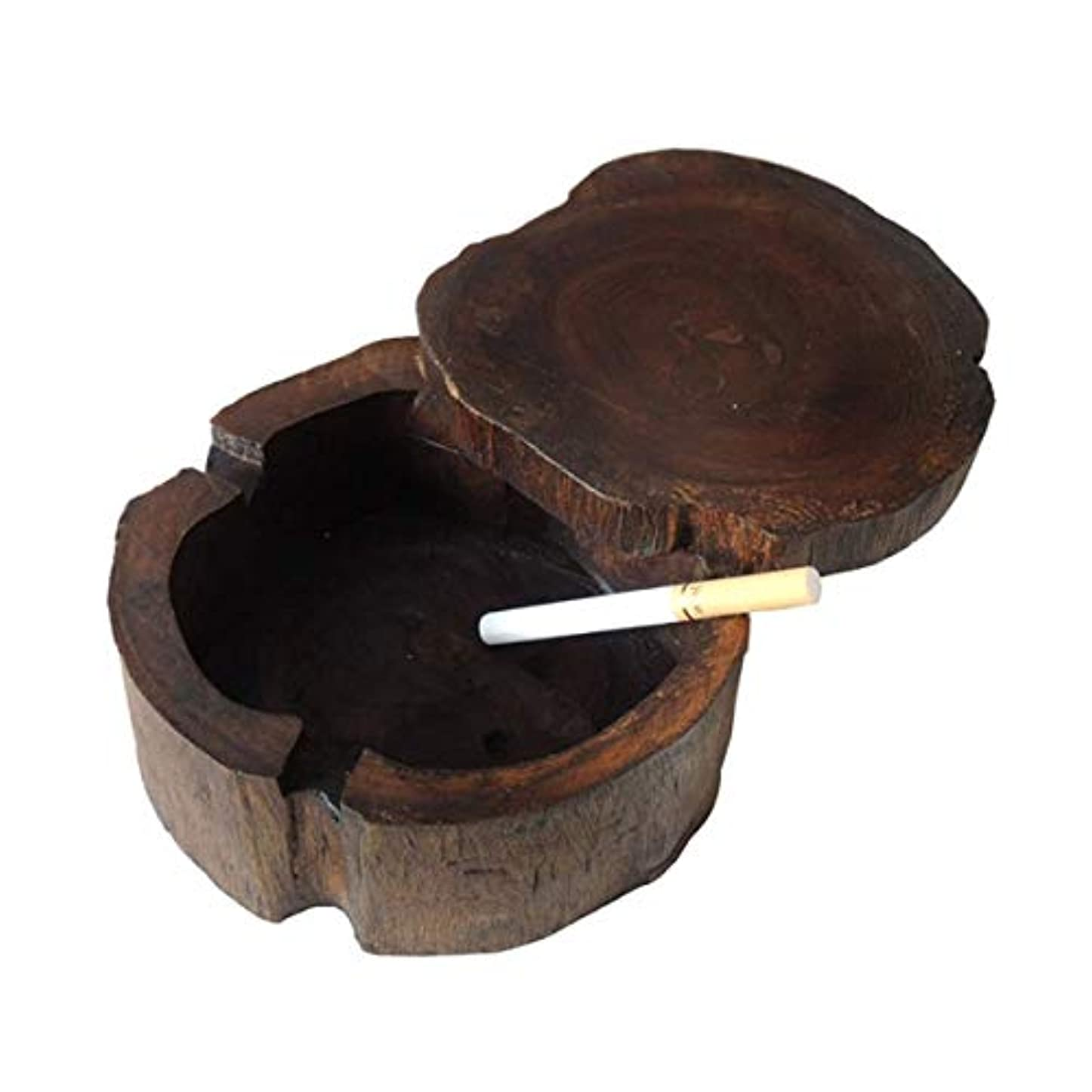 押し下げる制裁直面する木製タバコの灰皿、Winproofふたで手作りのヴィンテージオリジナルアンティークの木製タバコ灰皿、屋内ホームバー、小型のための灰皿