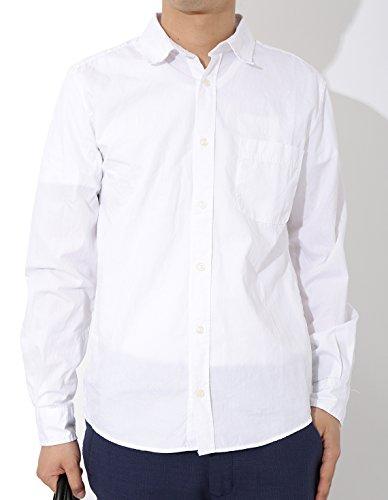 (リピード) REPIDO メンズ シャツ ブロード ワイシャツ 長袖 ホワイト(綿) Lサイズ