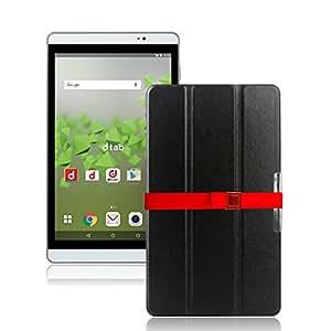 LOE(ロエ) ファーウェイ Huawei MediaPad M2 8.0 タブレット ケース 高級 PU レザー (型番HMP624) 液晶保護フィルム付 (M2 ブラック)