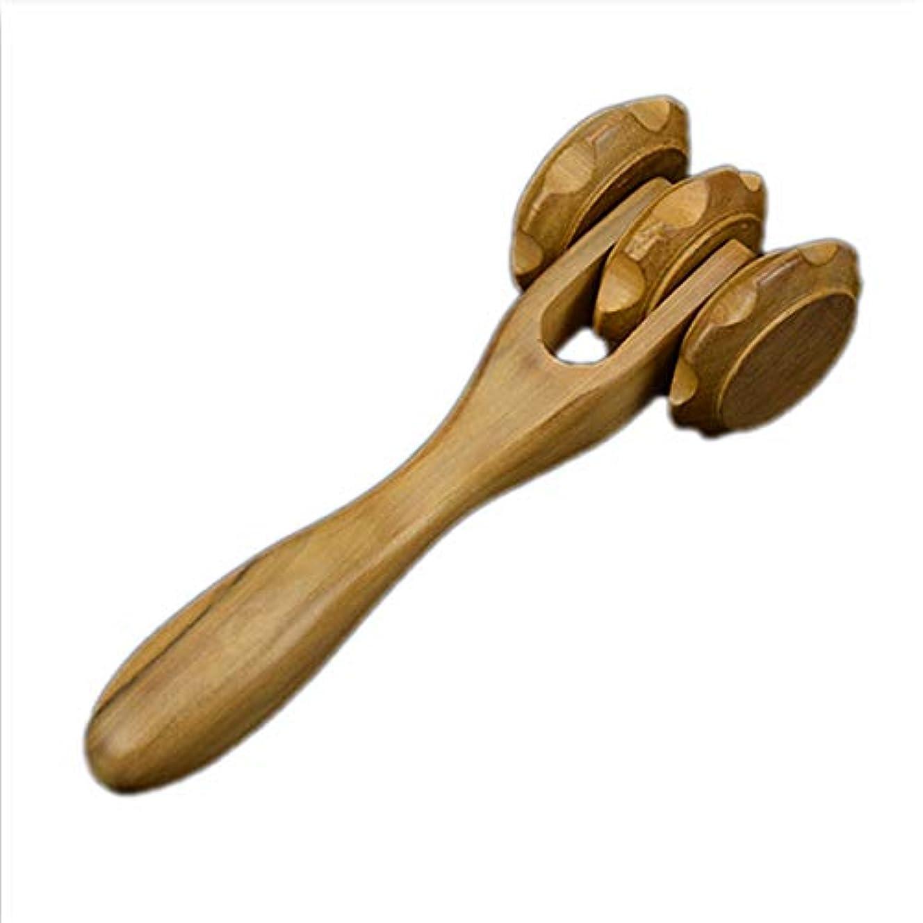 フェリモア マッサージローラー 木製 ツボ押し 3連ローラー 首 肩 腰 二の腕 美顔 筋肉 (ブラウン)