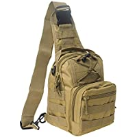 Tactical Sling Bag, Military Molle Assault Range Bag, Chest Shoulder Pack Crossbody Backpack for Men Women Camping Hiking Trekking(Two American Flag Patches Optional)