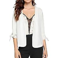 SZIVYSHI 3/4 Sleeve Tie Sleeve Buttonless Blazer Tailored Sports Jacket Suit Top White