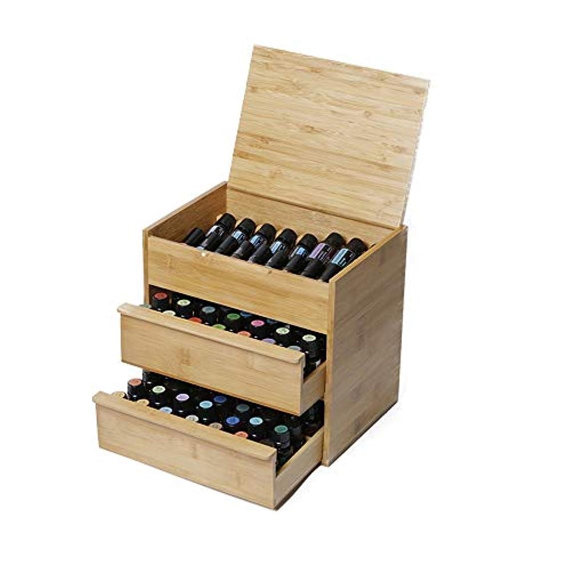 均等に正しく入り口エッセンシャルオイルの保管 88スロット木エッセンシャルオイルボックス3ティアボード内部リムーバブルは15/10/5 M1のボトル天然竹を開催します (色 : Natural, サイズ : 26.5X24.5X19CM)