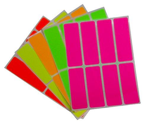 四角 蛍光 シール 印刷可 長方形 ラベルシール 四角型ステ...