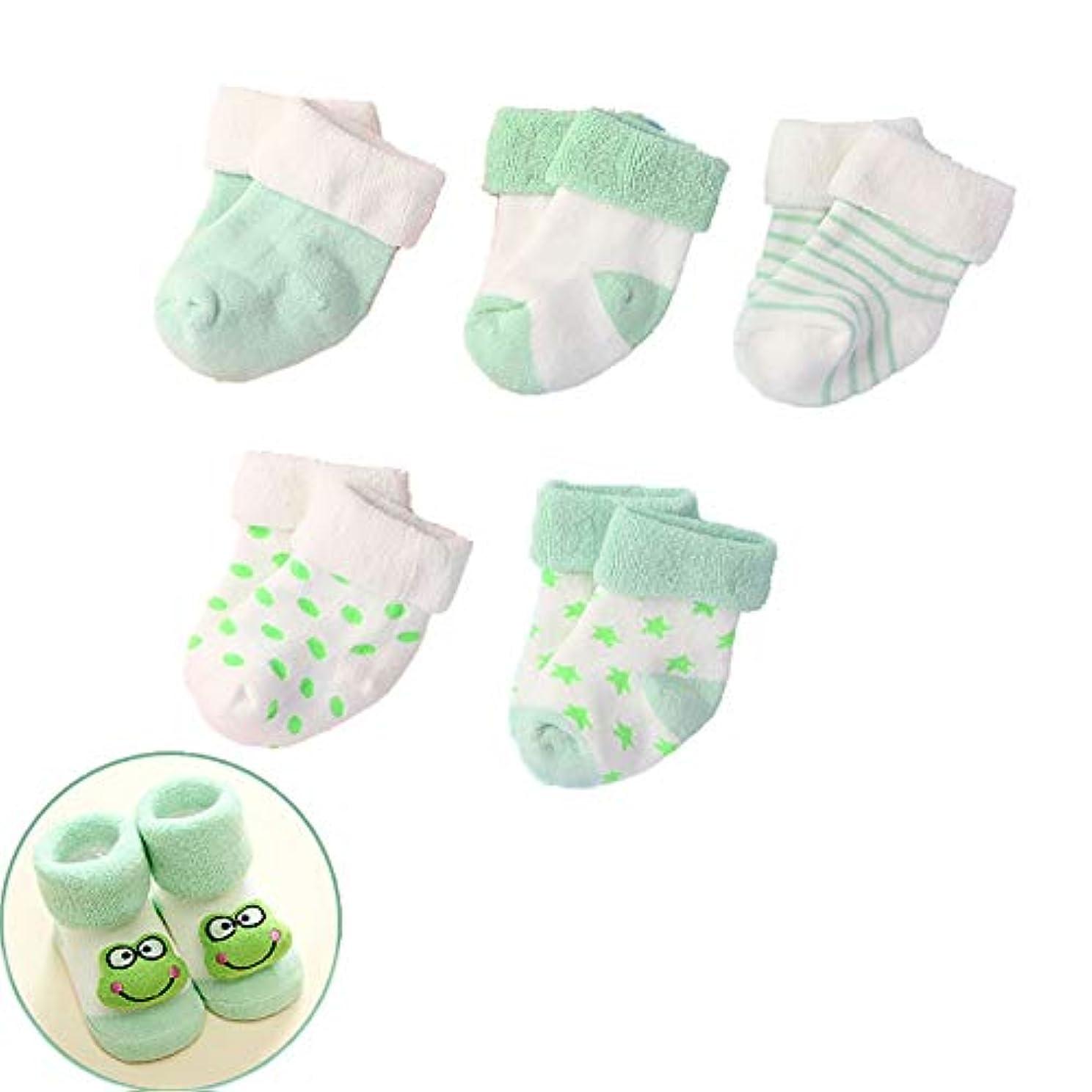 言い聞かせる遺伝子一般的にノンスキッド足首コットンソックス0-24ヶ月の赤ちゃんのために、5-ペア (色 : 緑, サイズ : 0-6 Months)