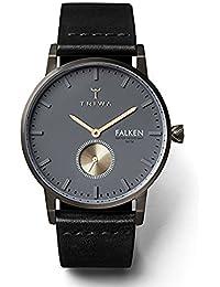 TRIWA トリワ FALKEN ファルケン ファルコン FAST102-CL010113 ダークグレー・イエローゴールド/ブラック レザーベルト アナログ ウォッチ ボーイズサイズ 防水 スモールセコンド 腕時計 [並行輸入品]
